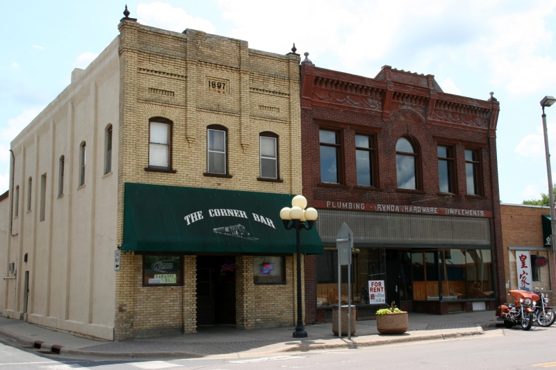 The old hardware store, right, has great historic character inside and out.