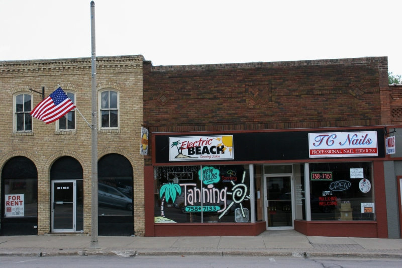 A variety of businesses line Main Street.