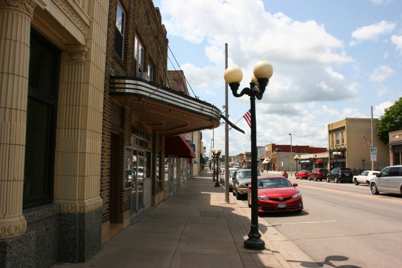 Another view of the bank and theater buildings along Main Street.