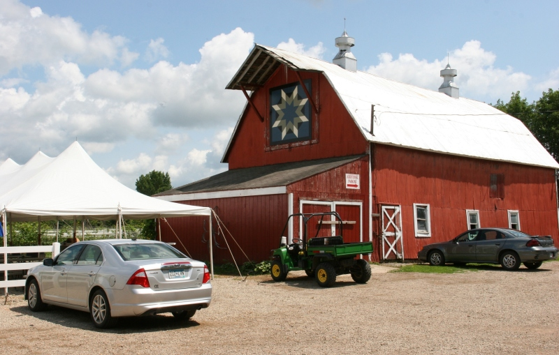 That's a tasting tent to the left of the barn.