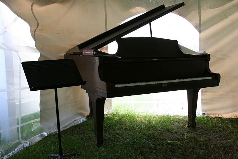 There's even a piano inside the reception tent.