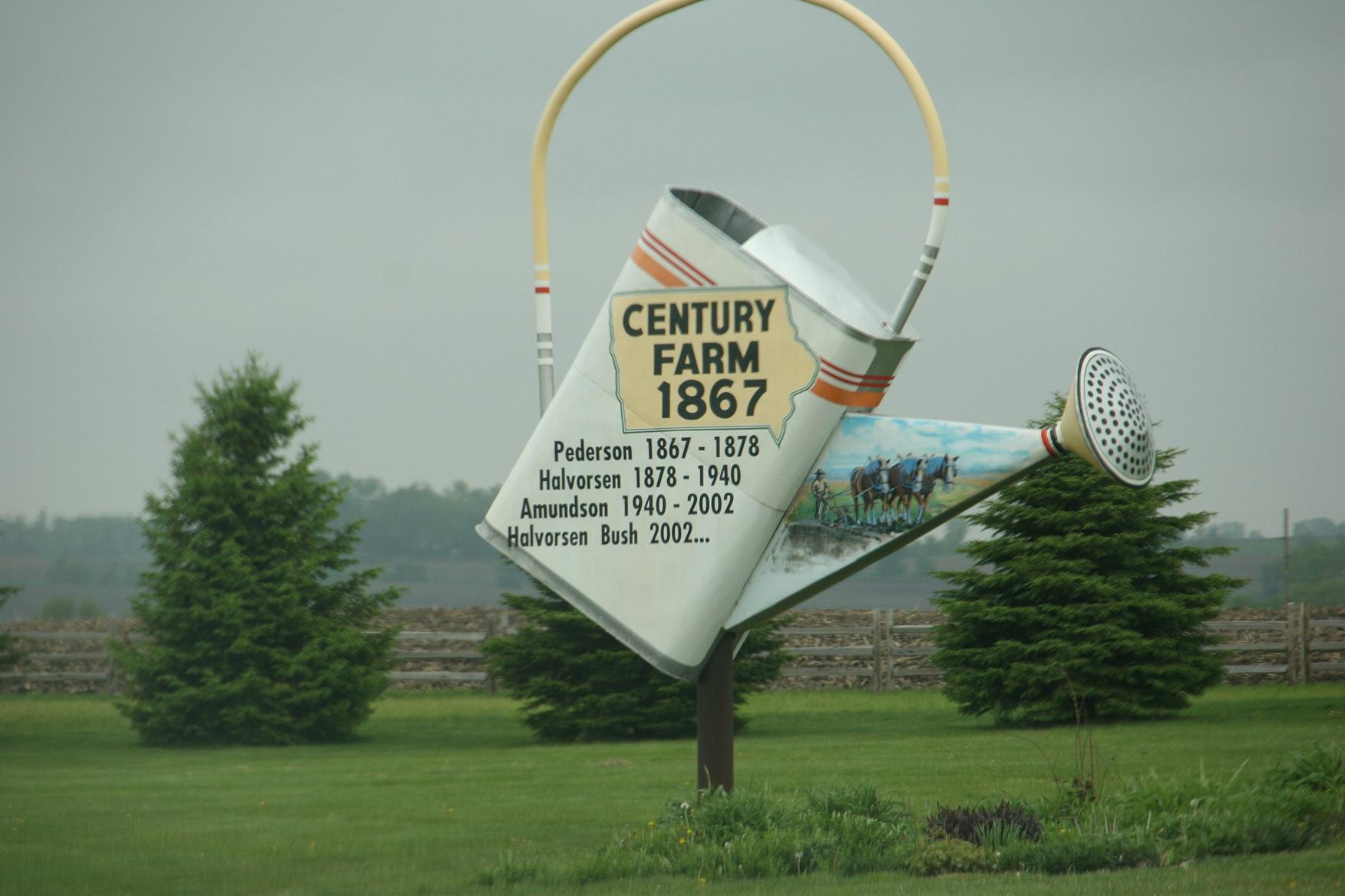 Small town iowa century farm marker near forest city jpg