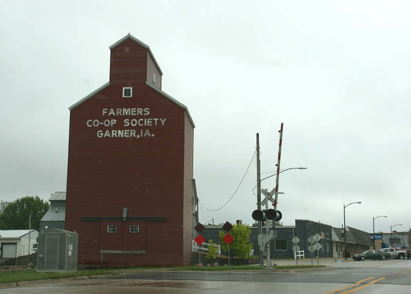 The Red Elevator, restored in 2009, gloriously graces the entry to Garner's Main Street. Garner is located west of Ventura.