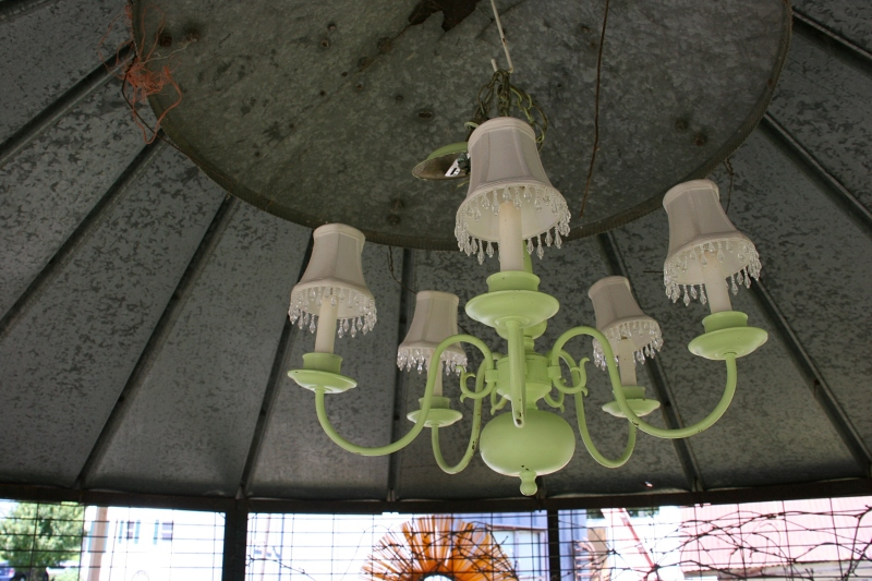 And inside the corn crib, this chandelier was for sale.