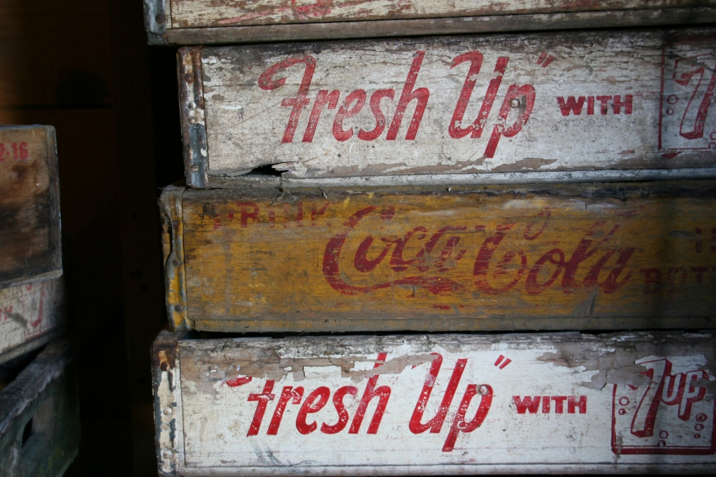 There are lots of vintage wooden pop crates for sale.