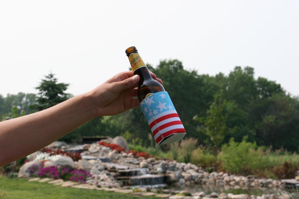 A patriotic can cooler.
