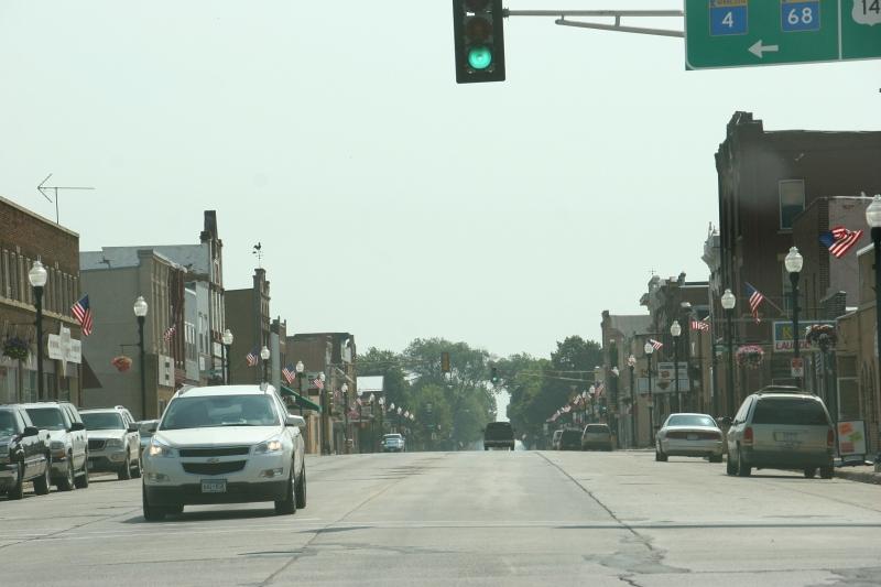 American flags line U.S. Highway 14 in downtown Sleepy Eye.