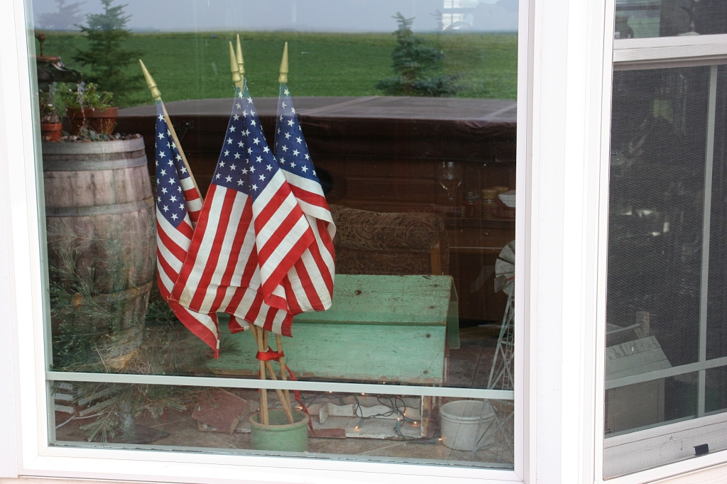Flags in a window overlooking the patio at my brother and sister-in-law's home.
