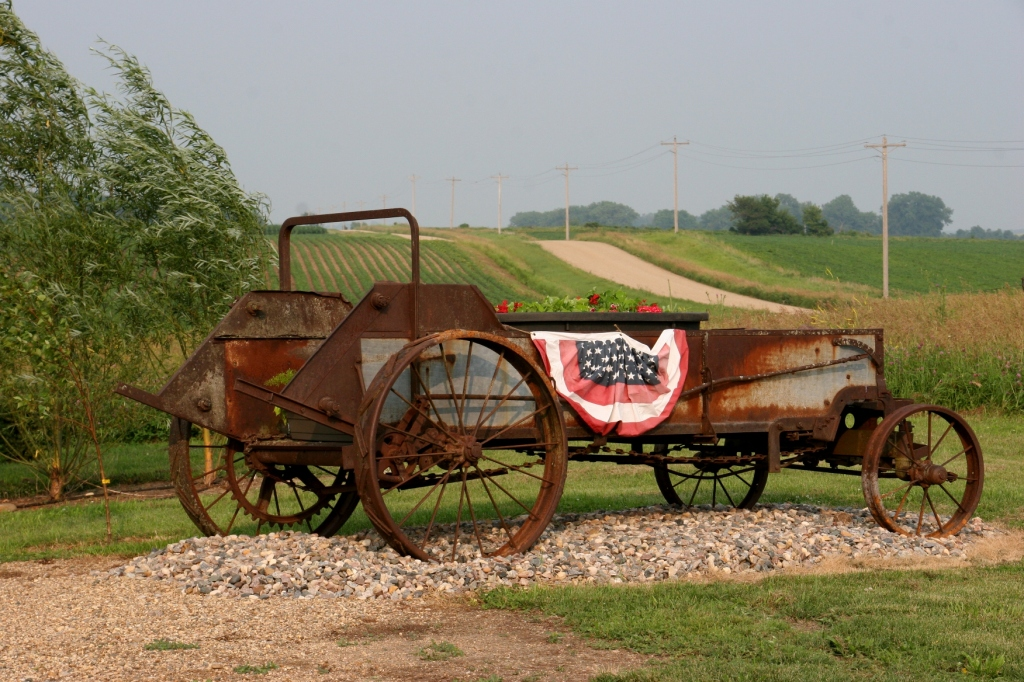 This is the old manure spreader from the farm where I grew up. My sister-in-law attached the patriotic bunting for the Fourth.