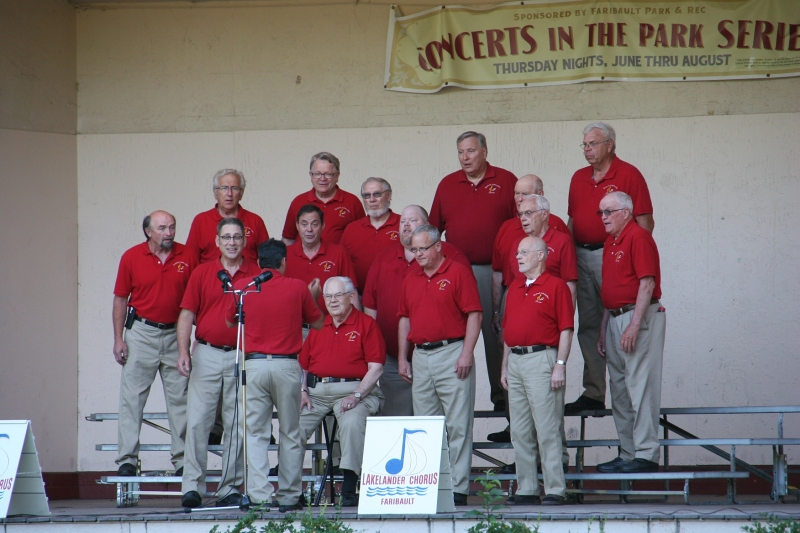 The Lakelanders Barbershop Chorus performs in the Central Park bandshell on July 23.