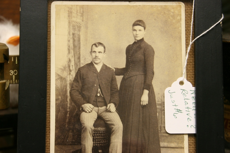 "The sales tag on this vintage photo reads, ""Need relatives?"""