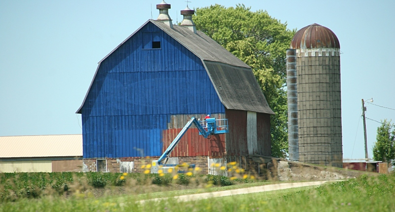 The front section of the barn was being painted as we drove along Interstate 35 Monday morning.