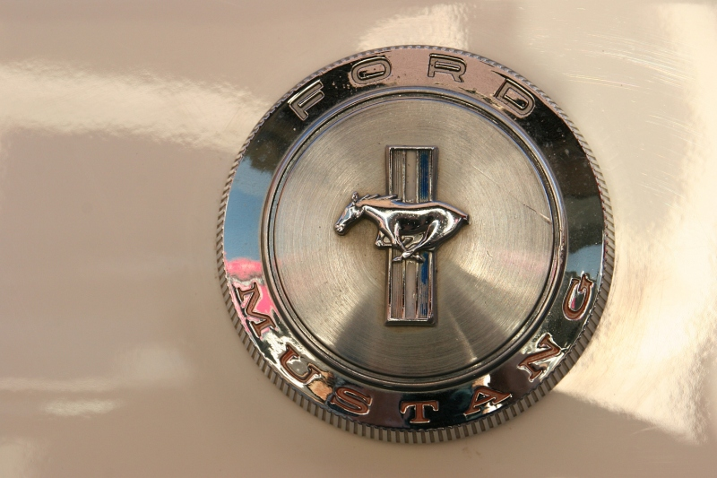 Zooming in on the details, a Mustang emblem.