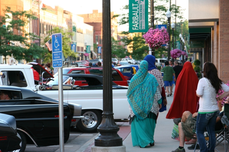 Adding to the artsy aspect of Car Cruise Night, was this colorful attire worn by Faribault