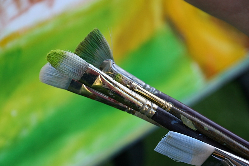 This year's concerts also feature en plein air artists. These are Pat Johnson's brushes.
