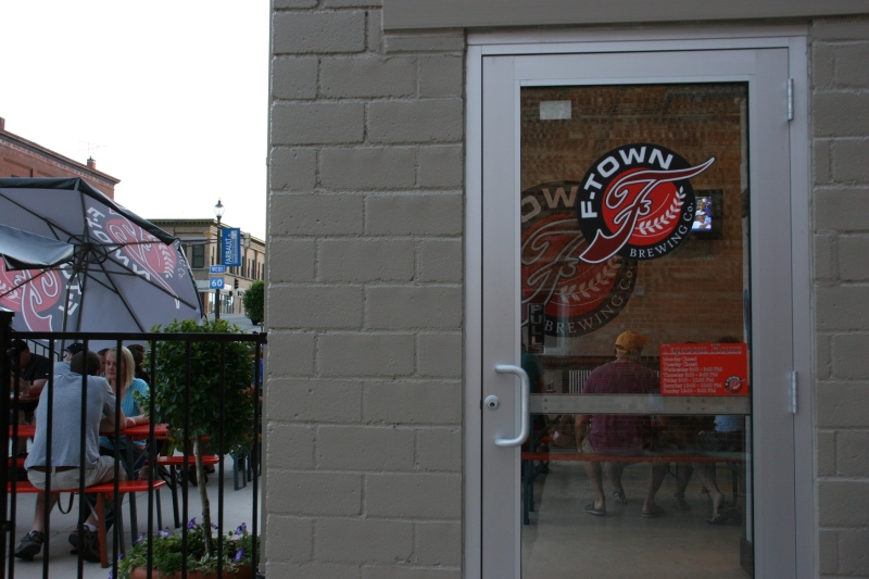 In this photo, you see the door into the taproom and the patio.