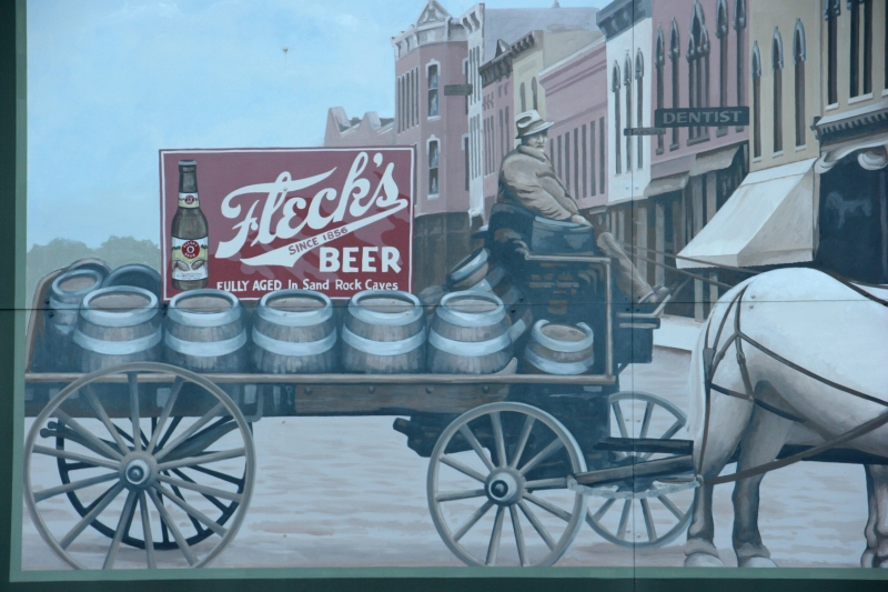 A block from F-Town, you'll find a mural honoring Fleck's beer.