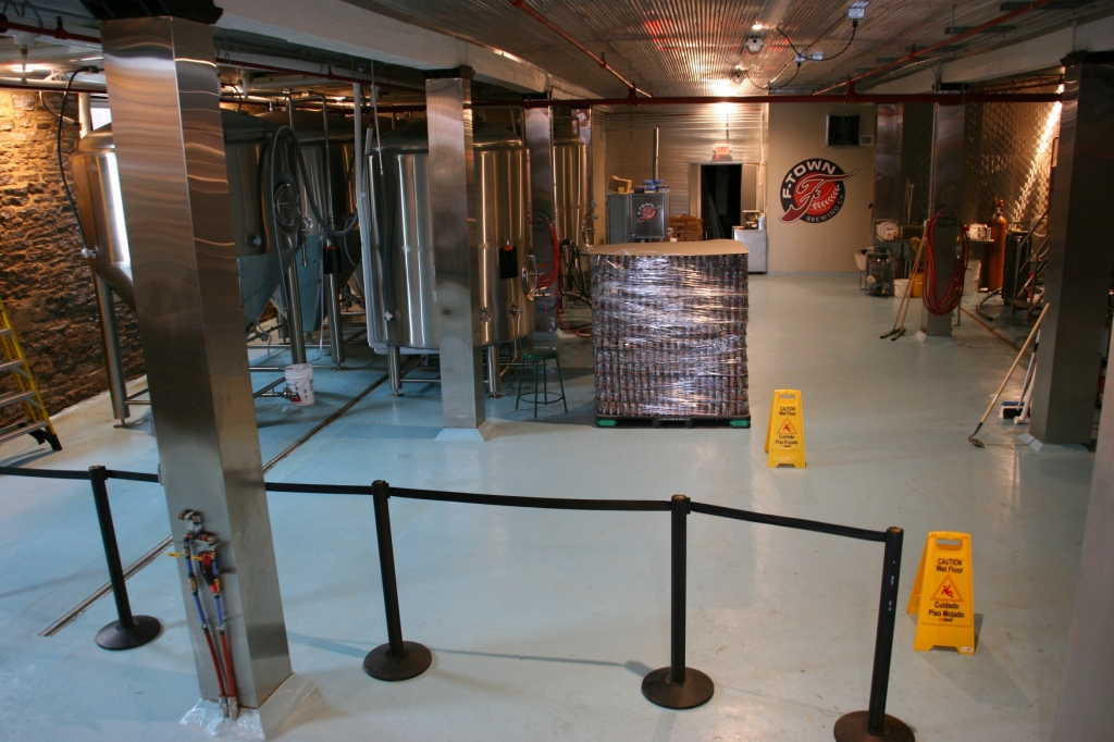 Here's where the beer is made, just down the steps from the taproom.