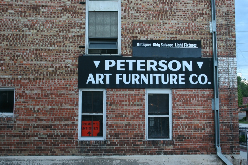 The scene at eye level of the historic Peterson Art Furniture. Plan time to explore this multi-level complex stuffed with antiques and collectibles and architectural salvage.