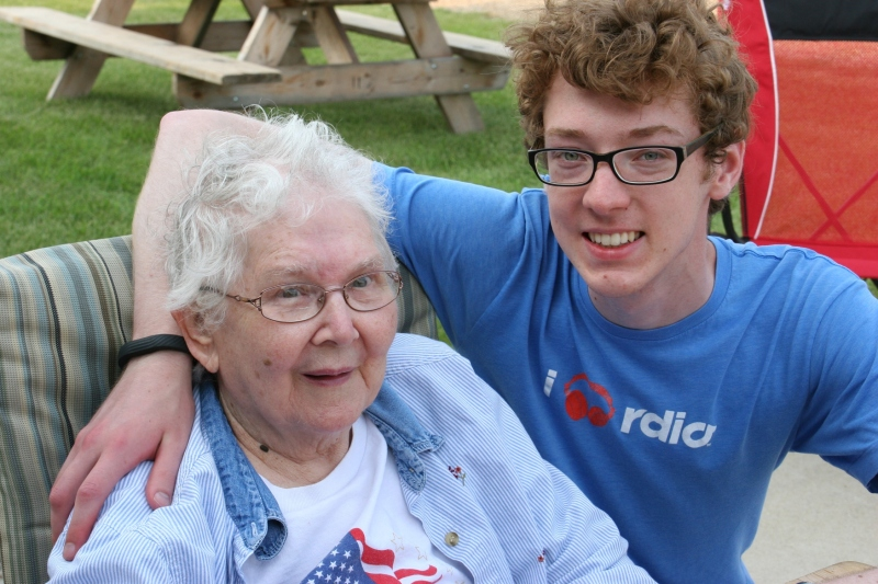 My son and his grandma.