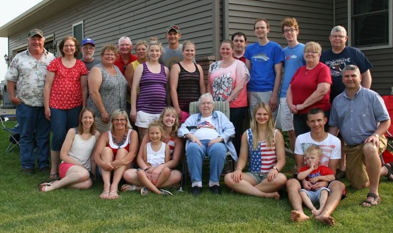The extended Kletscher family poses for a photo on the Fourth of July. Seven are missing.