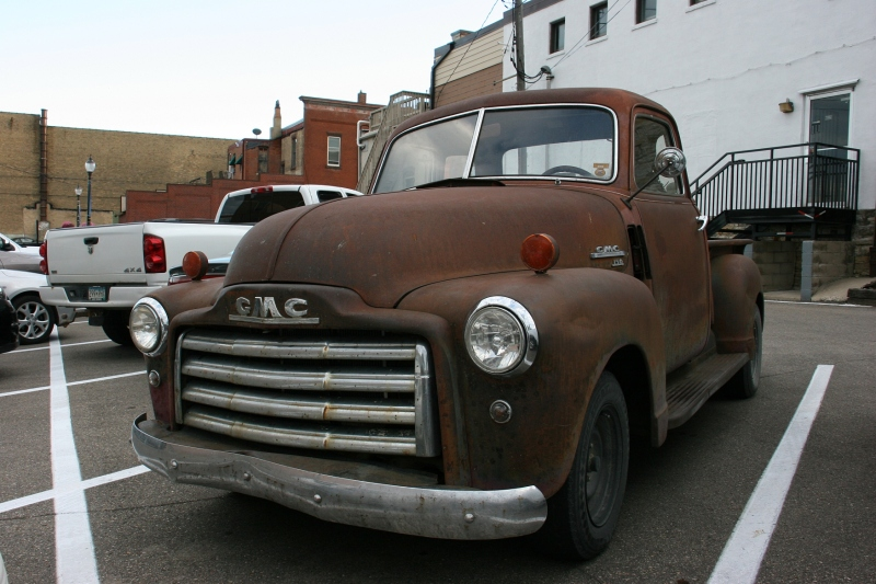 A GMC 150 parked in historic downtown Faribault.
