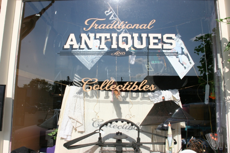 A front window in Jim's Antiques.