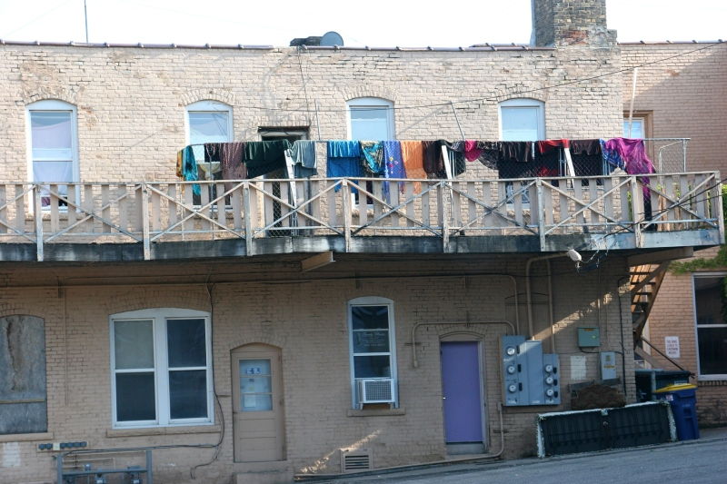 The scene along a balcony on the back side of a building along Third Street N.E. in downtown Faribault, just across the alley from the post office.