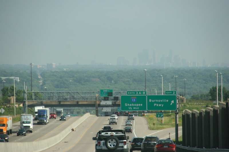 The Minneapolis skyline as photographed from Interstate 35 in Burnsville.