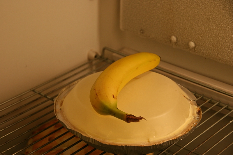 Banana cream pie inside a Pie Room fridge.