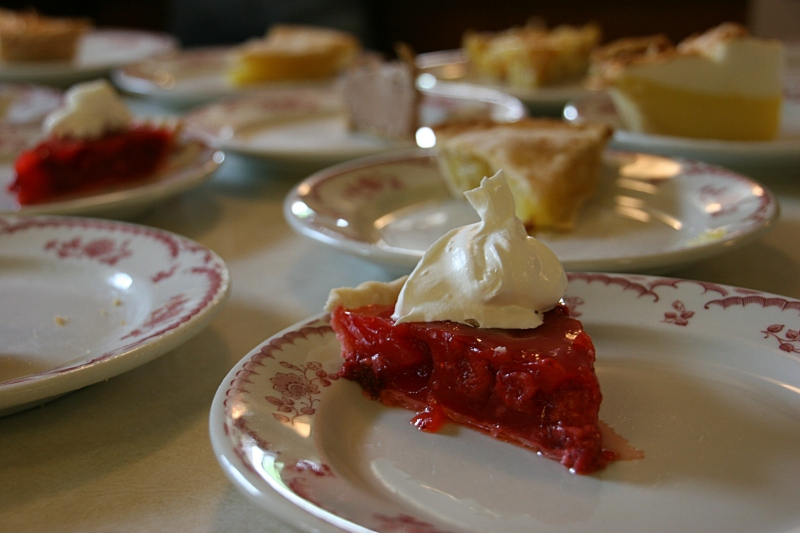 Parishioners made 28 pies for the Ice Cream Social. The varieties included pumpkin, pineapple, peach, strawberry, cherry, custard and more. Elsie brought her homemade strawberry.