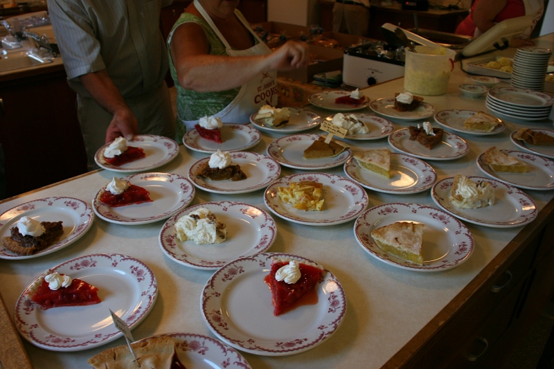 One volunteer was kept busy restocking pies and taking orders for certain types of pie.