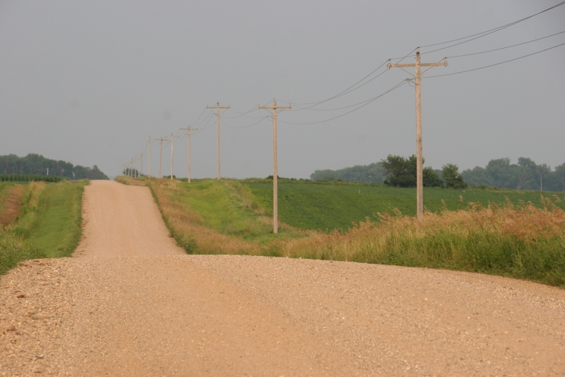 The gravel road that runs past my middle brother's rural acreage just north of Lamberton, Minnesota.