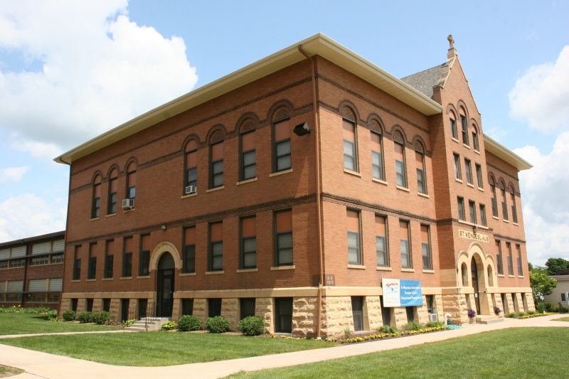 This is the old section of St. Wenceslaus Catholic School, located next to the church. An addition was built in 2003. Students from kindergarten through eighth grades attend.