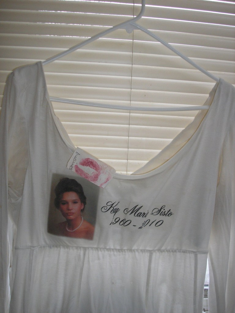 This shirt was added to The Clothesline Project four years ago by Kim Sisto-Robinson of Duluth. It honors her sister Kay, who was murdered by her husband in 2010.