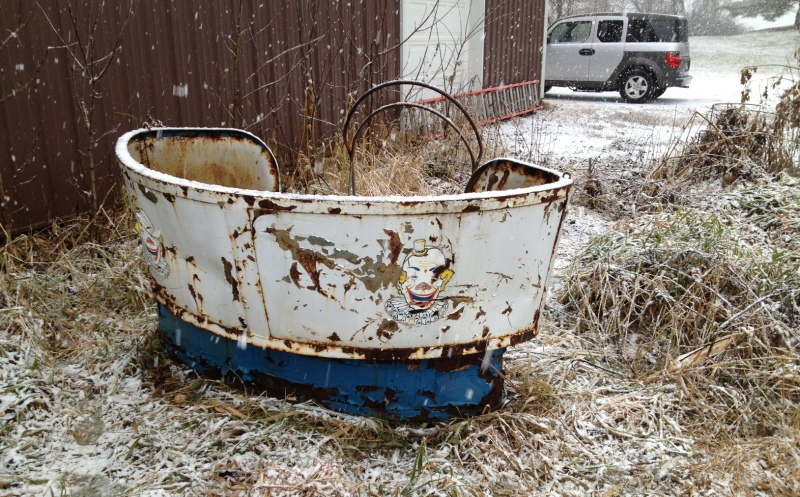 Monies are now being raised to restore this 1940s vintage Tilt-A-Whirl car. Photo courtesy of Tami Schluter.
