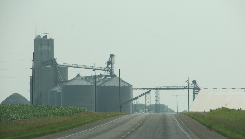 Grain storage along U.S. Highway 14.