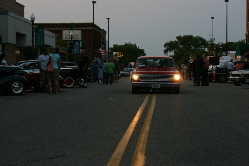 Leaving the final Car Cruise Night of the season in historic downtown Faribault.