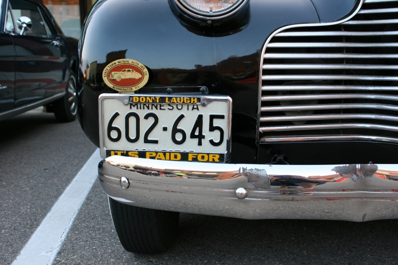 I've discovered that vintage car owners possess a sense of humor, the reason I always examine the plates.