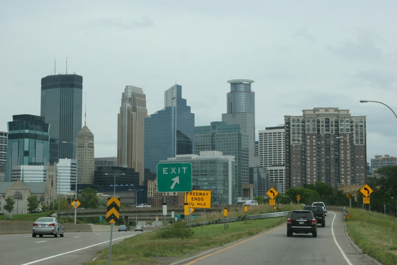 The downtown Minneapolis skyline, up close.