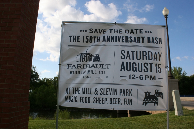 This sign outside the mill advertises Saturday's 150th anniversary festivities.
