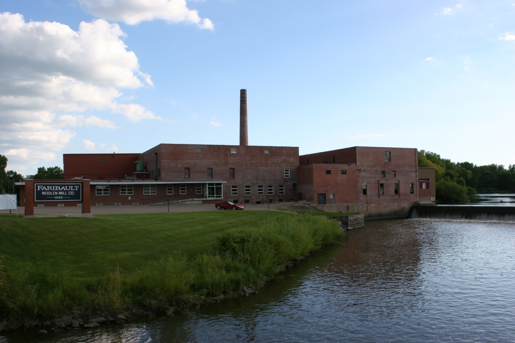The Faribault Woolen Mill sits on the bank of the Cannon River.