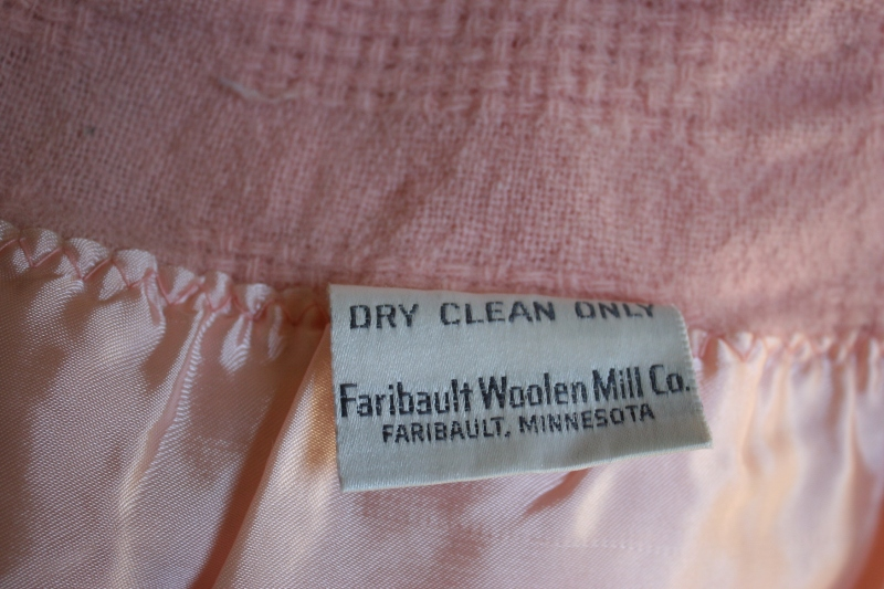 A label on a Faribault Woolen Mill blanket I own.