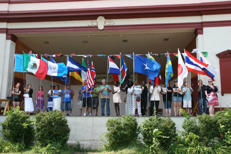 The flag ceremony featured national anthems and information about the countries from which Faribault residents have originated.