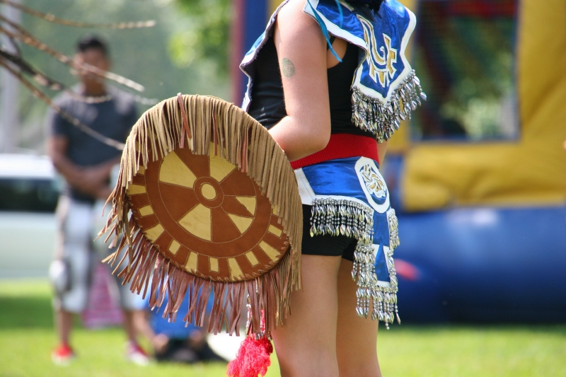 An Aztec dancer's costume details.