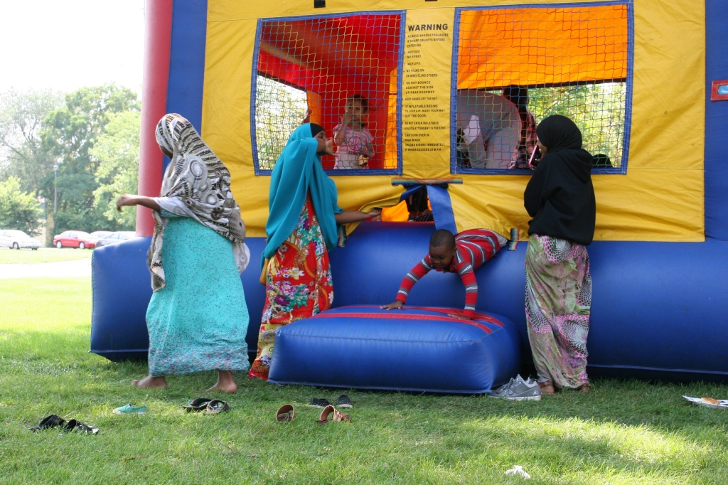 The bouncy house, a popular place for kids.