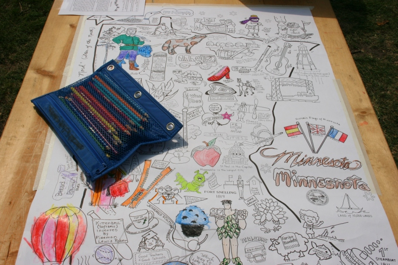 Kids could color graphics on a map of Minnesota that highlights points of interest.