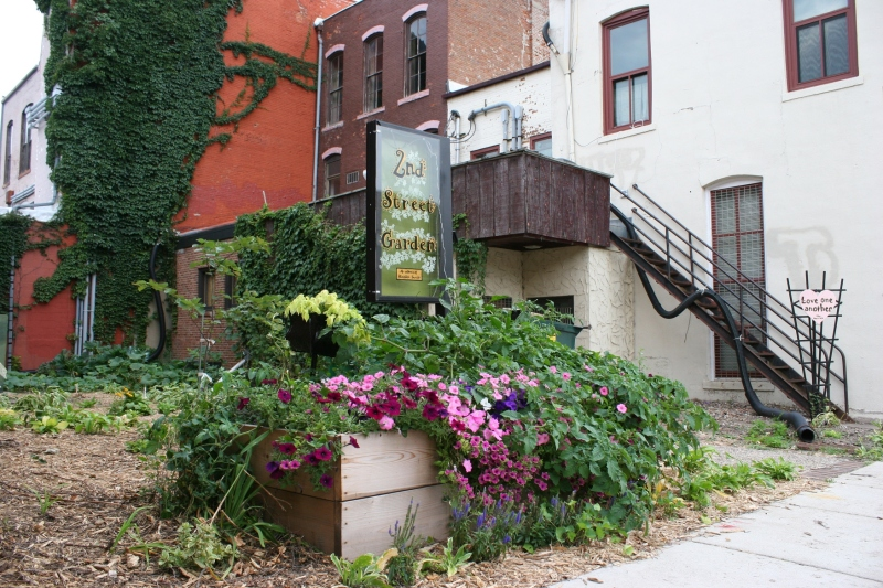 A side view of the Second Street Garden.