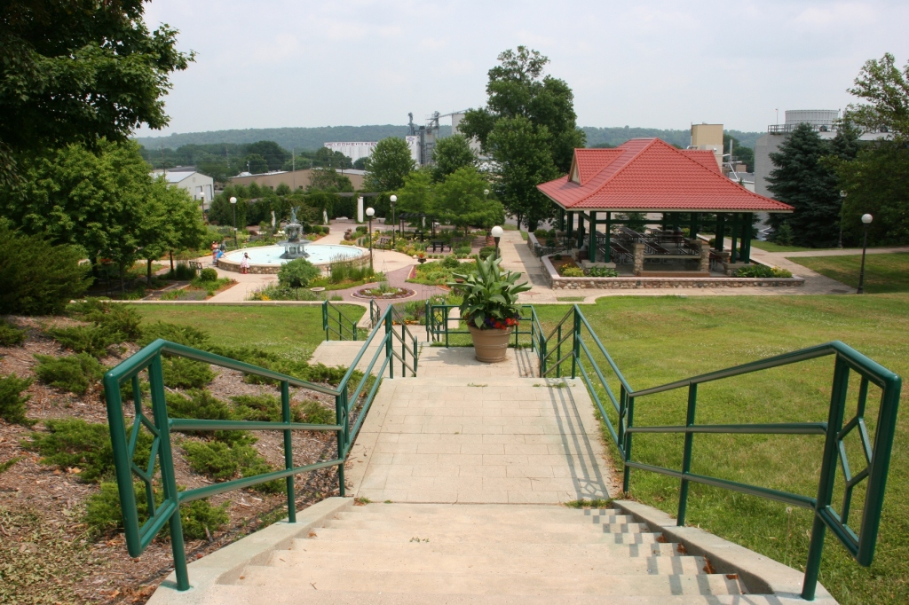 A view of German Park from the street-side steps that lead to the park at the bottom of the hill.