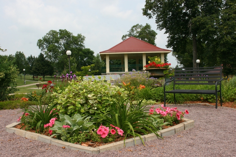 Stroll the paths and enjoy the flower gardens.